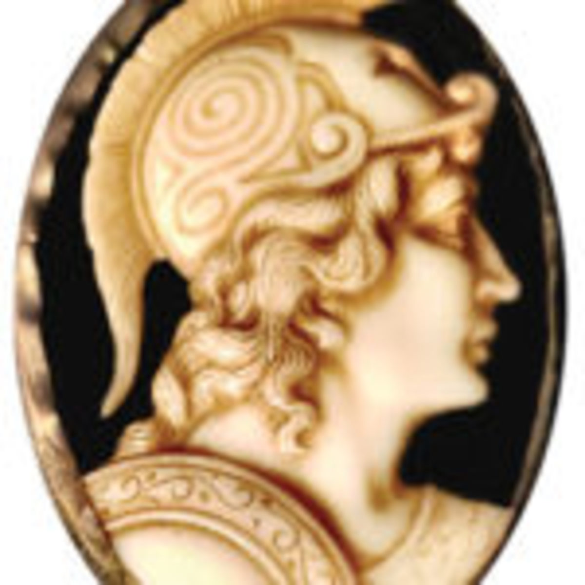 This late 18th or early 19th century glass cameo depicts the head of a Roman soldier, which was an early favorite theme in cameos. The cameo is made of two layers of contrasting glass with a yellowish-brown profile on a black background. Photos courtesy of Dr. Anthony Cavo