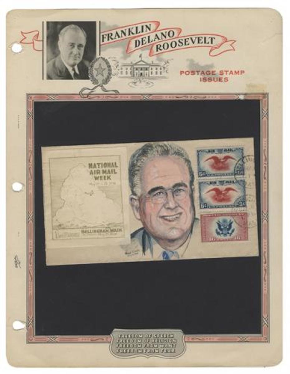 Roosevelt Cartoon Envelope and Stamps