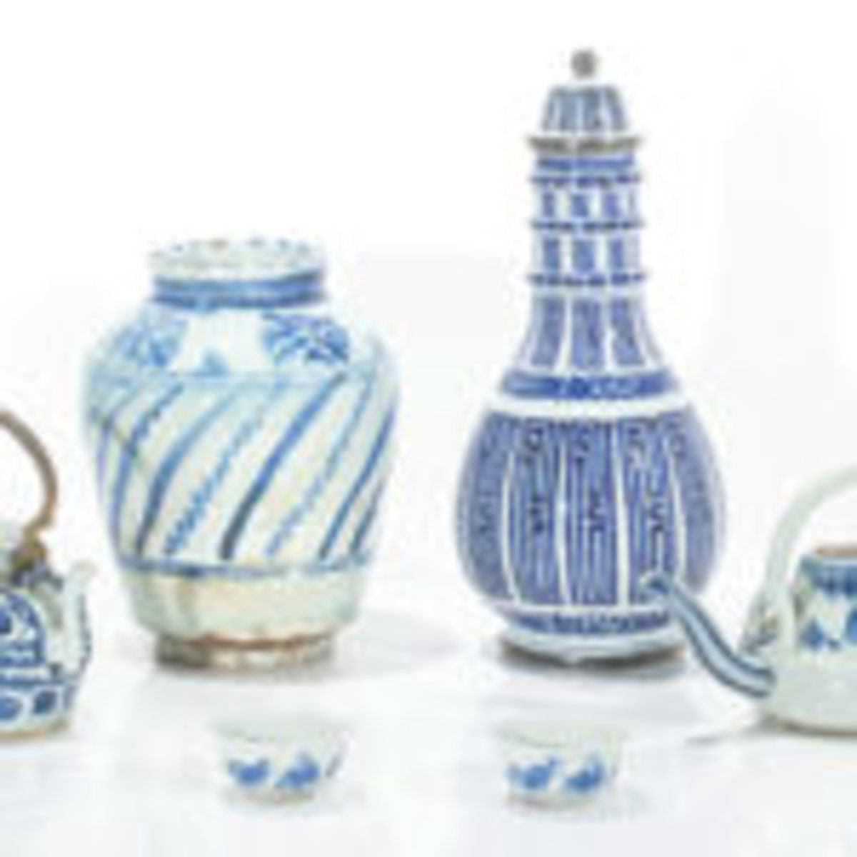 Six-piece group of Chinese blue and white tableware, $13,750.