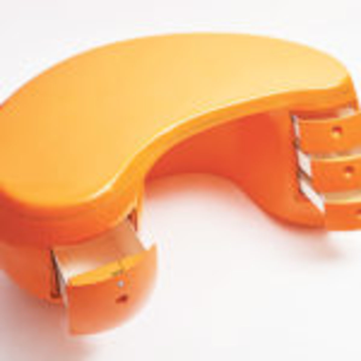 "Maurice Calka, orange Boomerang Desk, France, circa 1970, made by Maison Leleu, fiberglass, 33 1/2"" d. x 30 1/2"" h. x 70 1/2"" w., $85,000. Image courtesy of eBay Collective"