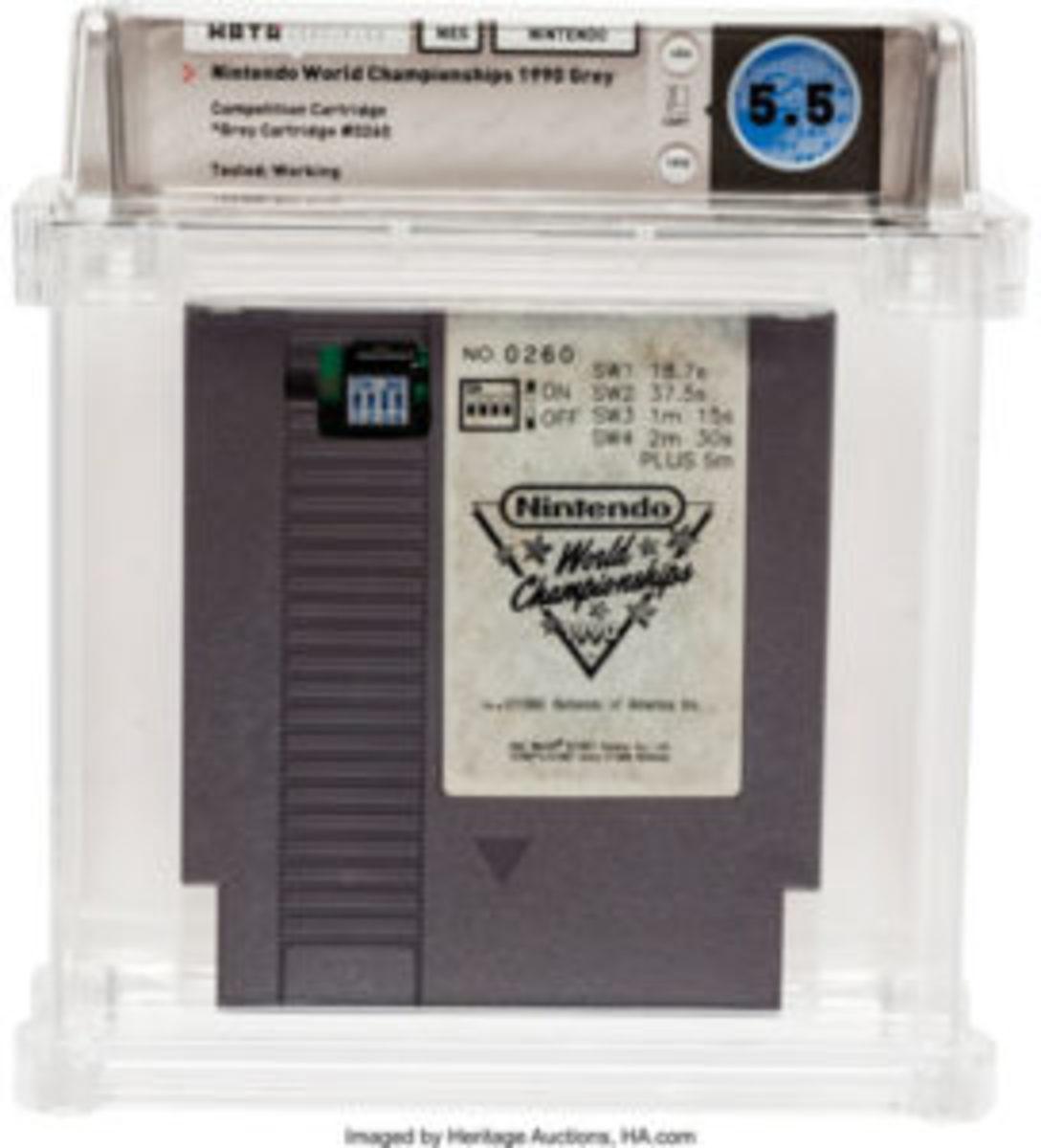 Nintendo World Championships 1990 Gray (NES, Nintendo, 1990) Wata 5.5 (Loose) Cartridge #260.