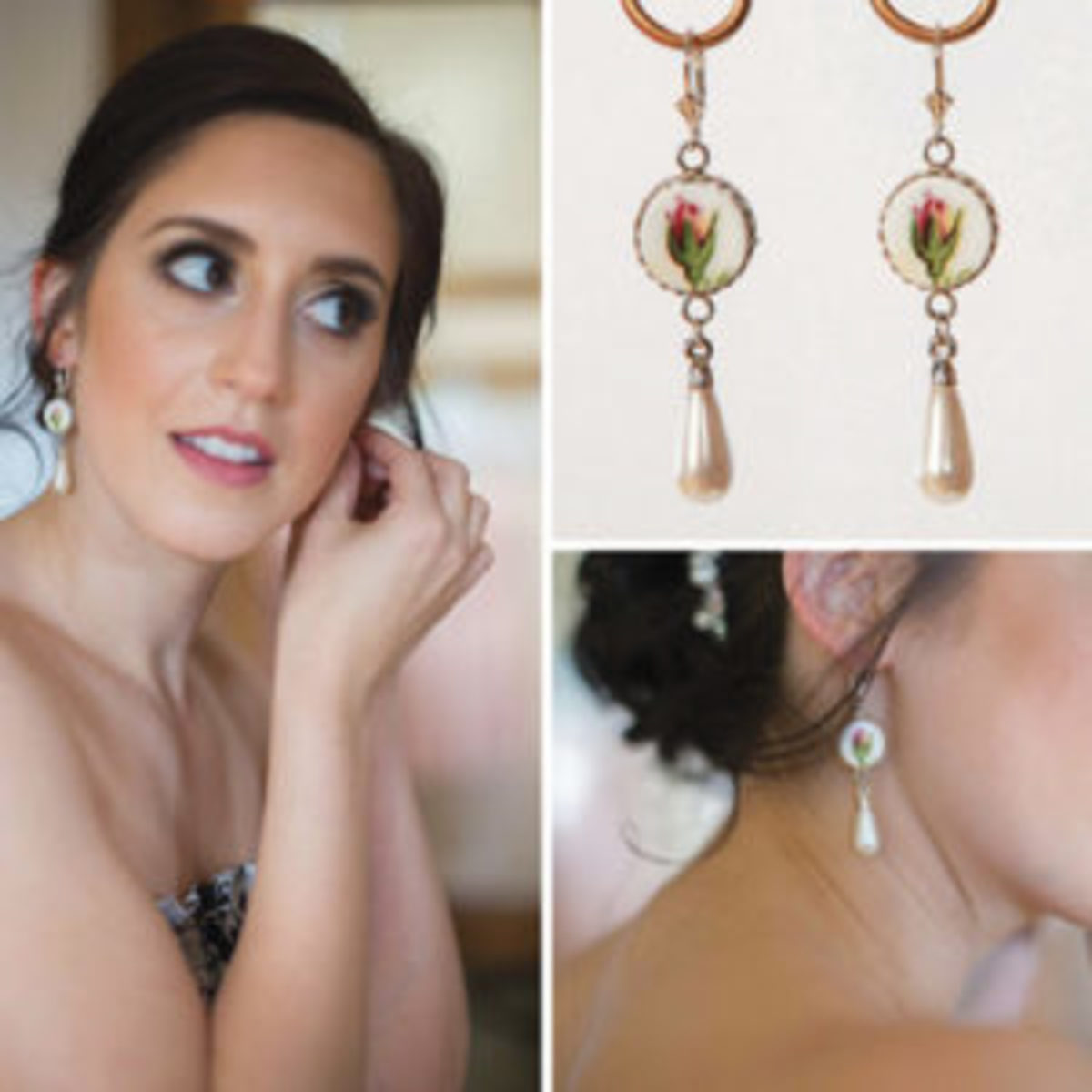 Bride dresses with china earrings
