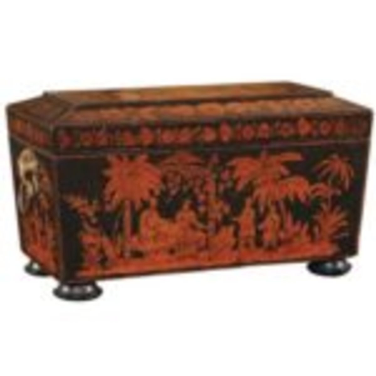 """English ebonized wooden penwork tea caddy featuring chinoiserie scenes and two tea compartments flanking central cup holder, 19th century, 7"""" x 12 1/4"""" x 6 1/4"""", $2,150. Available at www.1stdibs.com. Courtesy of www.1stdibs.com"""