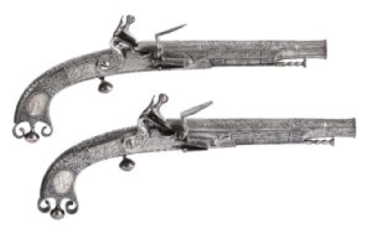 Matched pair of 18th century Scottish flintlock pistols