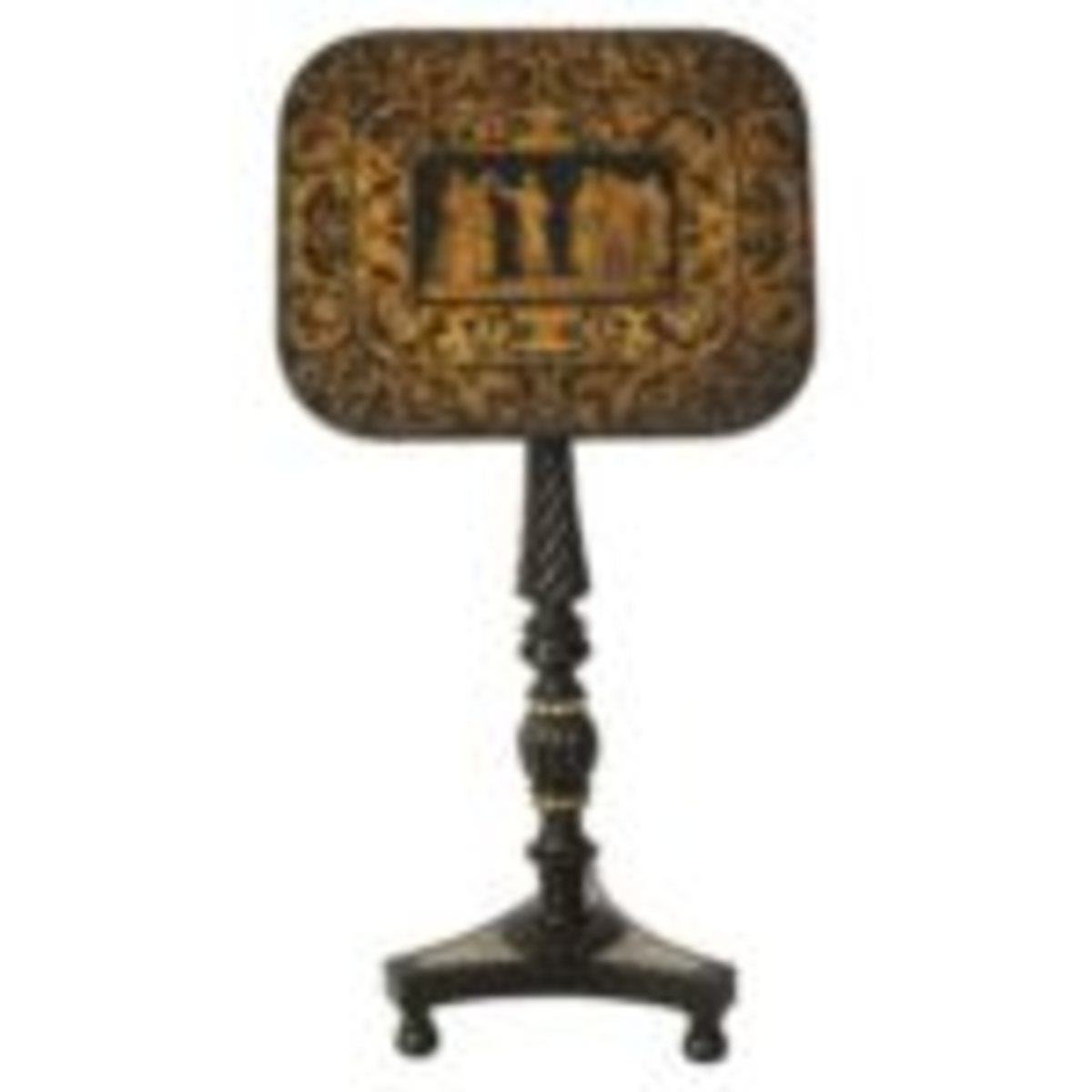 """Regency penwork tilt-top pedestal-base table depicting the death of Socrates, accented with bone decoration, 1800, 27 1/2"""" x 18"""" x 14 1/2"""", $4,600. Available at www.1stdibs.com. Courtesy of www.1stdibs.com"""