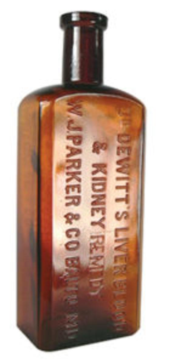 Figure 4: Dr. Dewitt's Liver Blood & Kidney Remedy, W.J. Parker & Co., Balto, MD., 16oz, Amber – 1900-1920, $55-$75.
