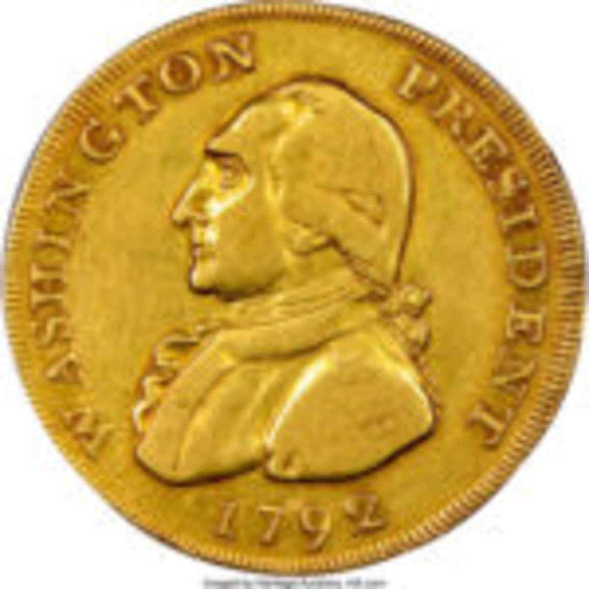 A unique, pattern $10 denomination gold coin depicting George Washington that had been off the market since 1942 sold for $1,740,000 in 2018. (Photo credit: Heritage Auctions www.HA.com.)