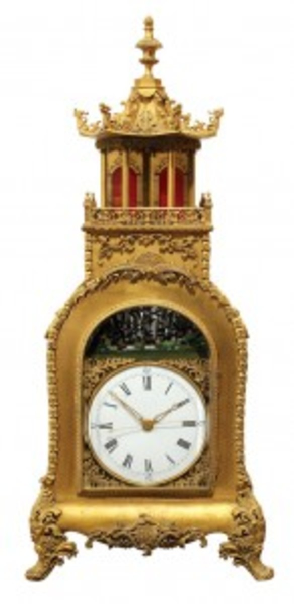 Chinese Fusee and gilt clock