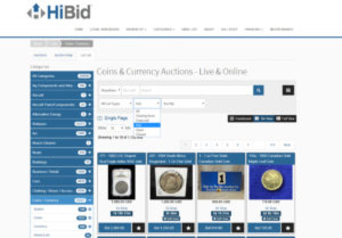 HiBid Coins/Currency category
