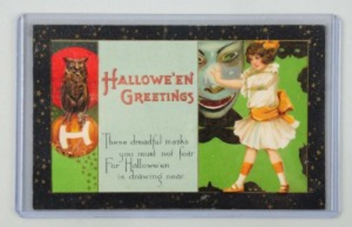 Rare Winsch Halloween postcard with artwork by Schmucker (unsigned), est. $400-$600. Morphy Auctions image