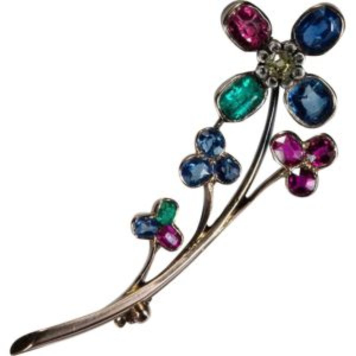 Old Euro Diamond Cushion Cut Emerald Ruby Sapphire Brooch 18k Gold Mixed Gemstone Flower Brooch $1,899. Courtesy of Ruby Lane