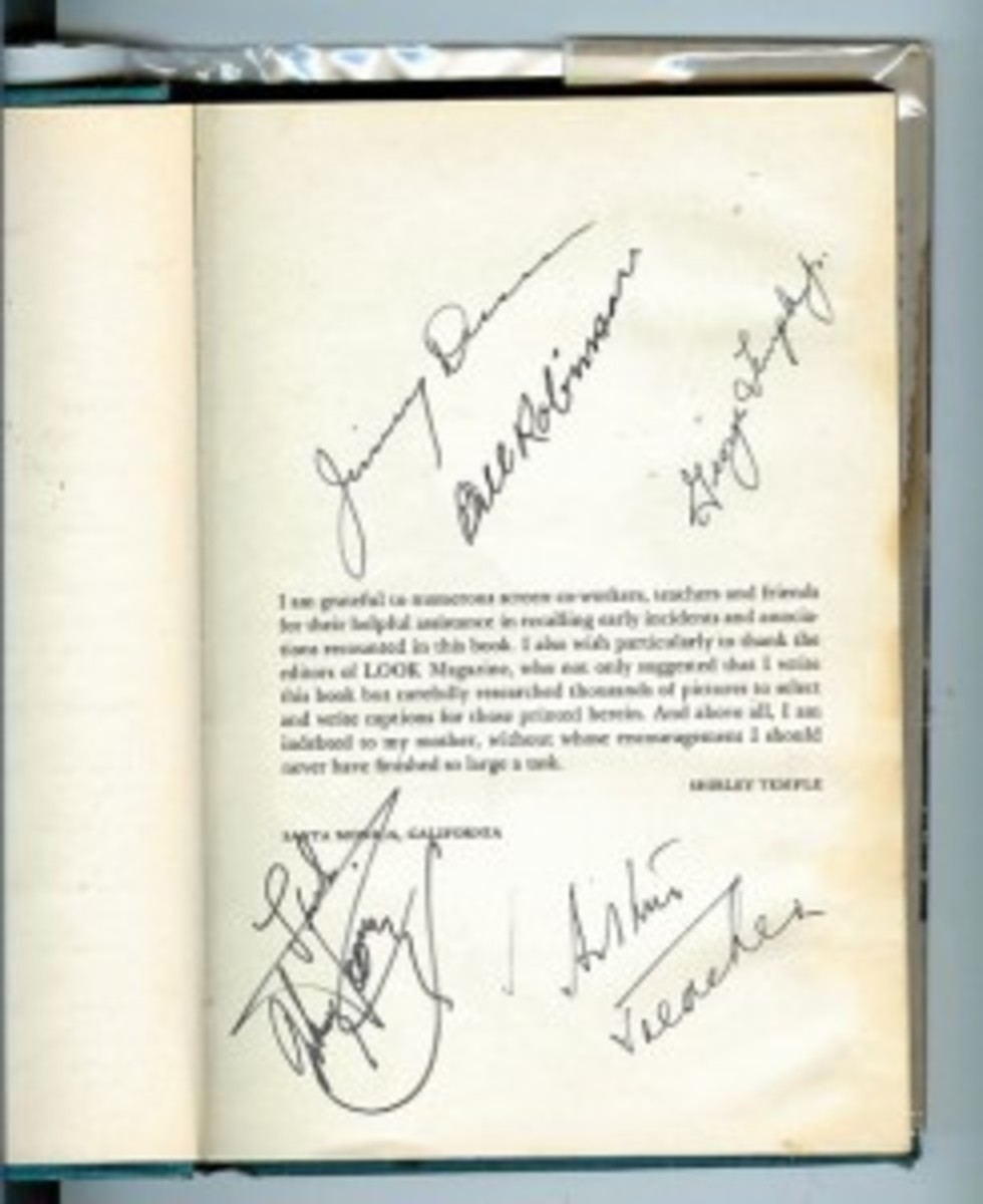 page of autographed memorabilia in book form