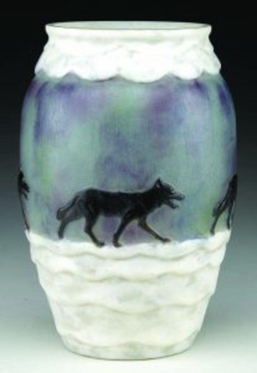 Wolf in Winter Argy-Rousseau vase