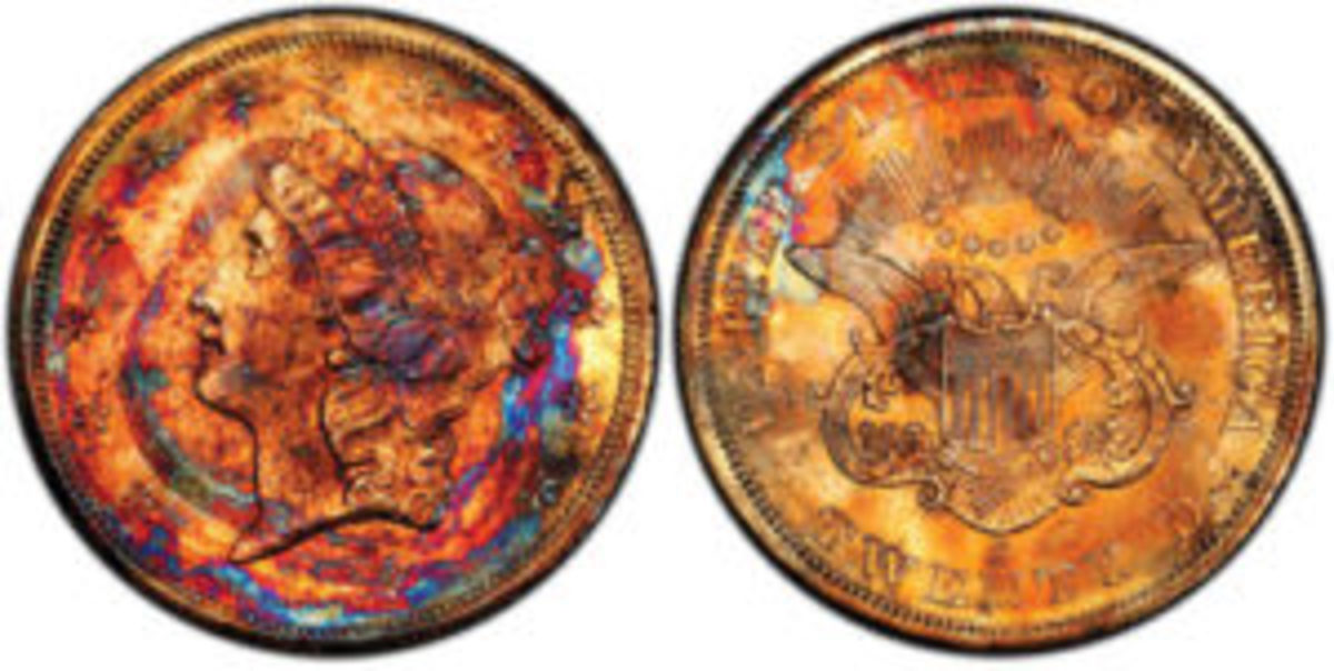 "Named ""Supernova"" because of its unique, multi-color toning, this California Gold Rush coin struck at the San Francisco Mint in 1857, and lost at sea for 157 years in the sinking of the legendary ""Ship of Gold, the S.S. Central America, is expected to sell for a quarter-million dollars or more in New Orleans on May 16, 2019 in an auction conducted by Legend Auctions of Lincroft, New Jersey. Photo courtesy of Professional Coin Grading Service."