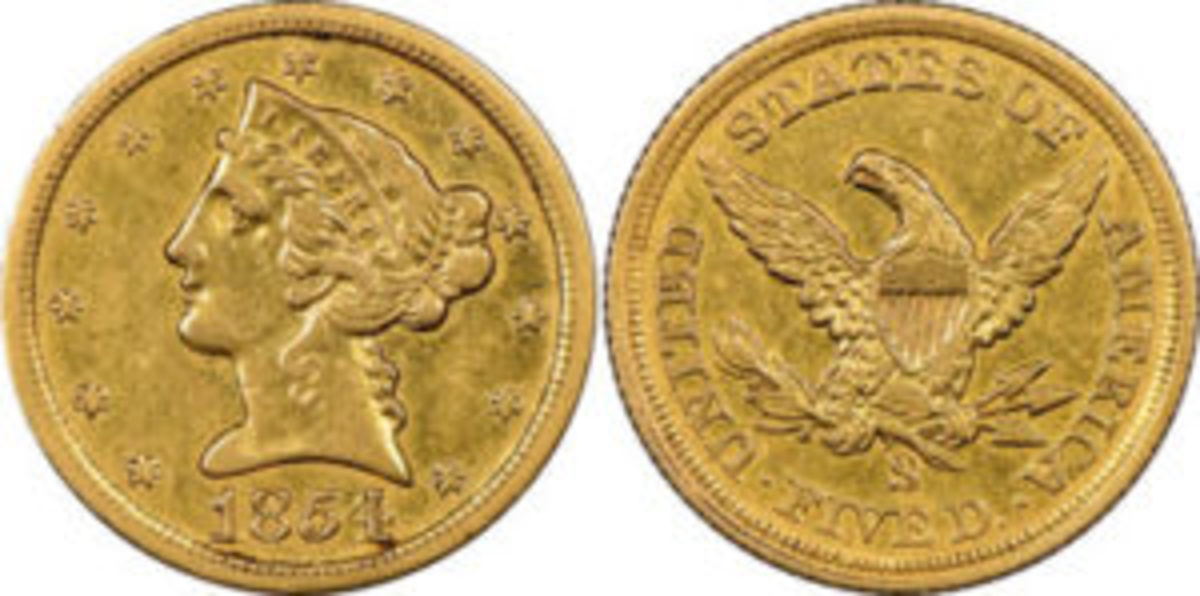 At $2.16 million, this recently discovered 1854 San Francisco Mint $5 denomination gold coin was one of the U.S. rare coins that sold for more than $1 million in 2018. It is graded Extremely Fine 45 by Numismatic Guaranty Corporation, the official grading service of the Professional Numismatists Guild. Photo courtesy Numismatic Guaranty Corporation www.NGCcoin.com.