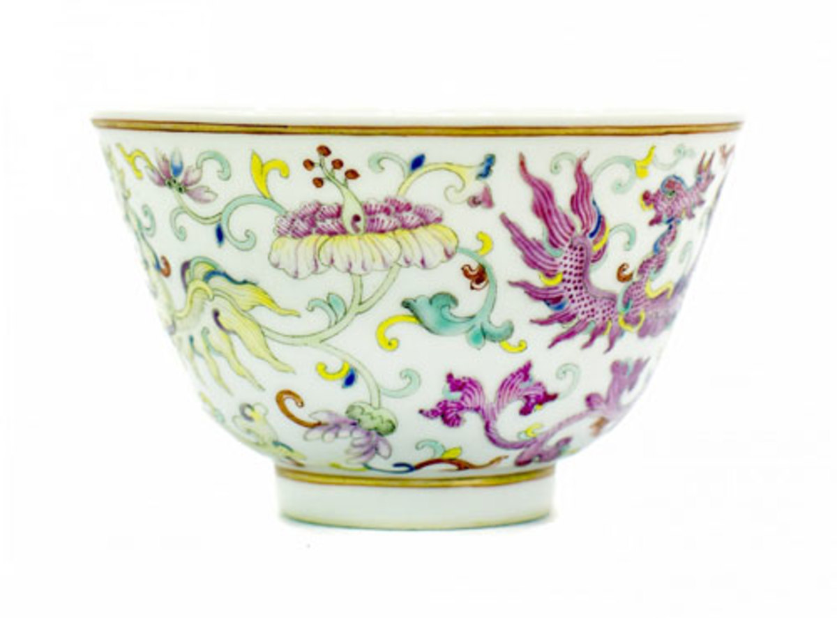 Chinese famille rose porcelain bowl from the Qing Dynasty, with six-character mark of Guangxu (est. $2,000-$4,000). (Photo courtesy A.B. Levy's)