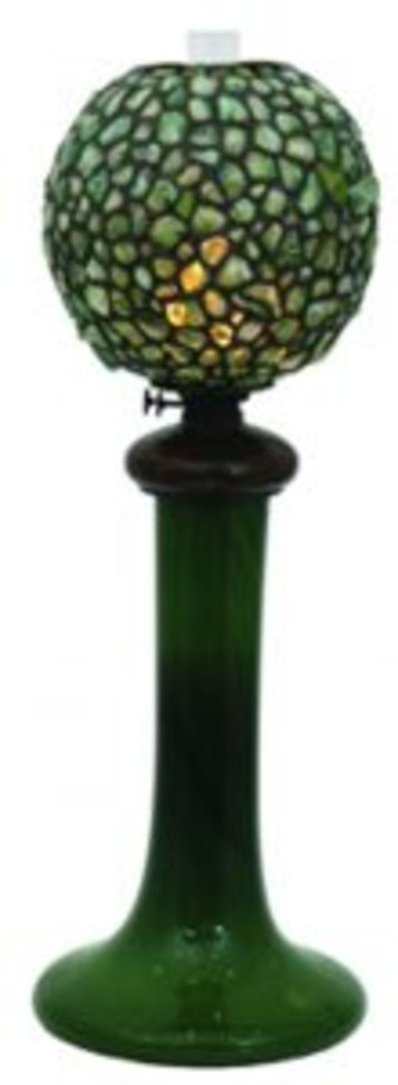 Tiffany Studios swirl chunk globe oil lamp