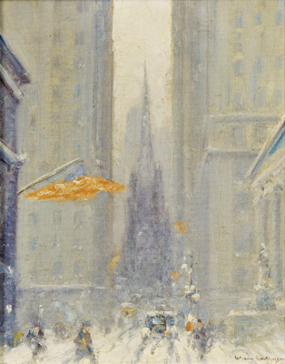 "Johann Berthelsen (American, 1883-1972), ""View of Trinity Church, Manhattan, New York,"" signed lower right, oil on canvasboard, 11 1/4 inches by 9 inches, auctioned for $9,600 on Feb. 1, 2013. Photo courtesy Skinner, Inc.; www.skinnerinc.com"