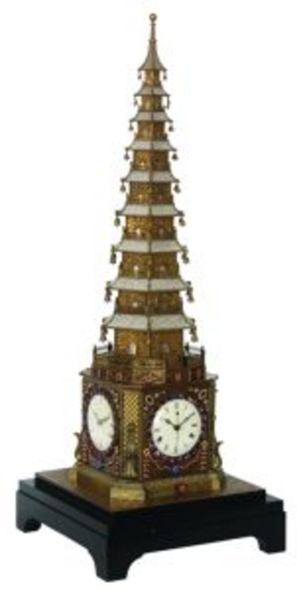 Pagoda-form automaton musical clock