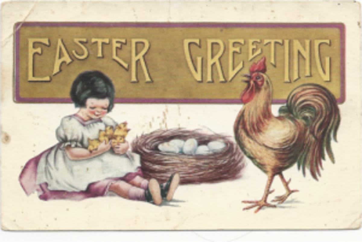 Easter Greetings rooster postcard
