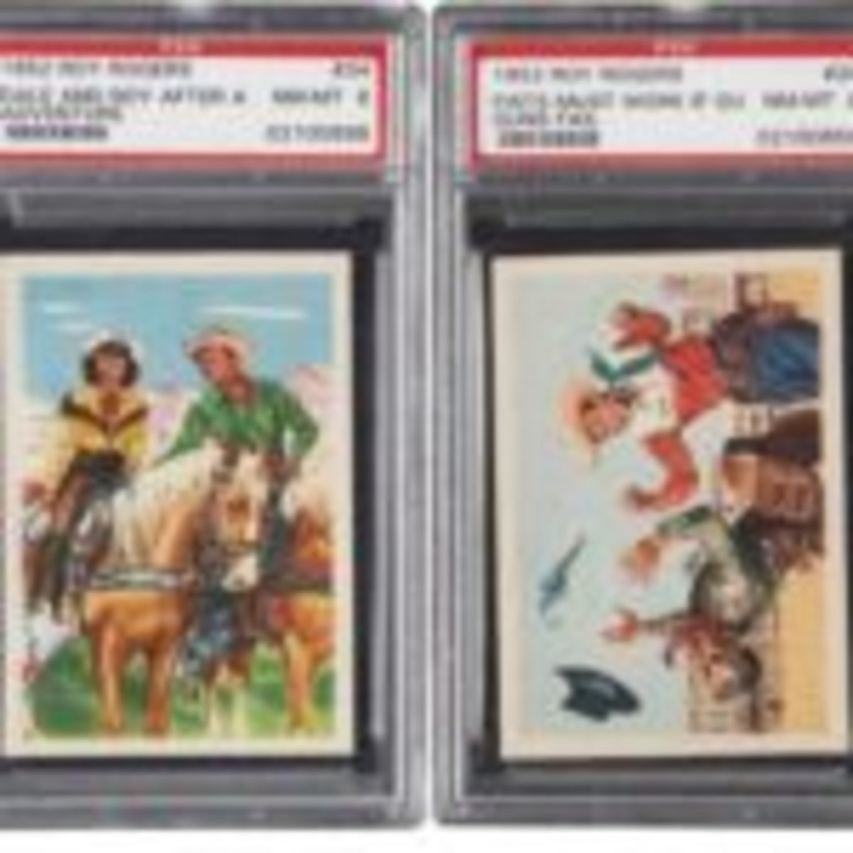 "Pair of 1952 Post Cereal Roy Rogers trading cards. Each has been graded NM-MT 8 by PSA, both are tied with three or four others at this, the highest grade level available. The beloved Western duo are featured on these rare cereal premiums which have some how managed to avoid the intended folding and separating to create a 3D-type scene. Includes: #'s 26 ""Fists Must Work If Guns Fail"" and 34 ""Dale and Roy After an Adventure."" The pair sold at auction for $262.90. Courtesy of Heritage Auctions"