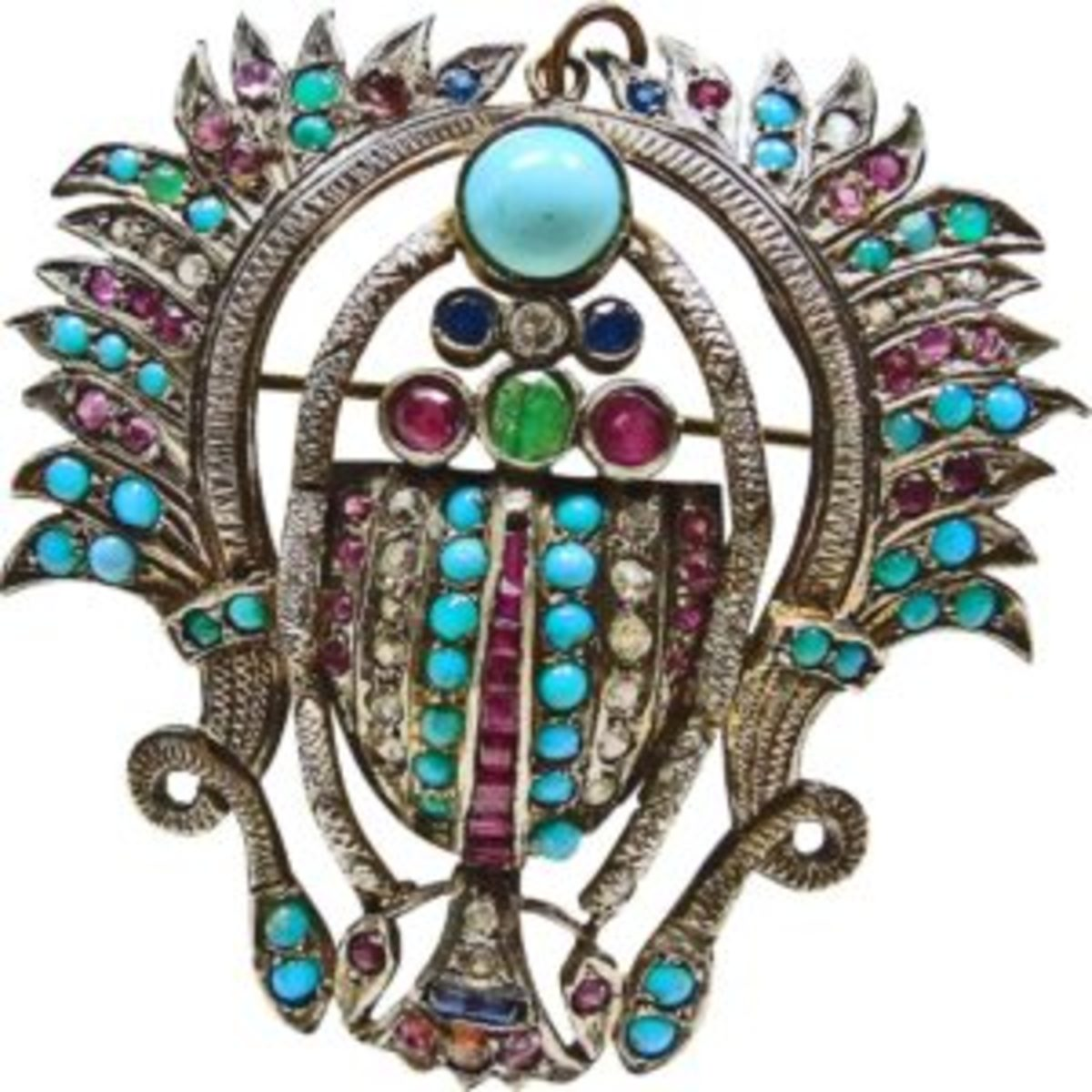 Vintage Egyptian Silver Scarab with Turquoise, Synthetic and Natural Rubies, Sapphires, Emeralds and White Paste Stones $500