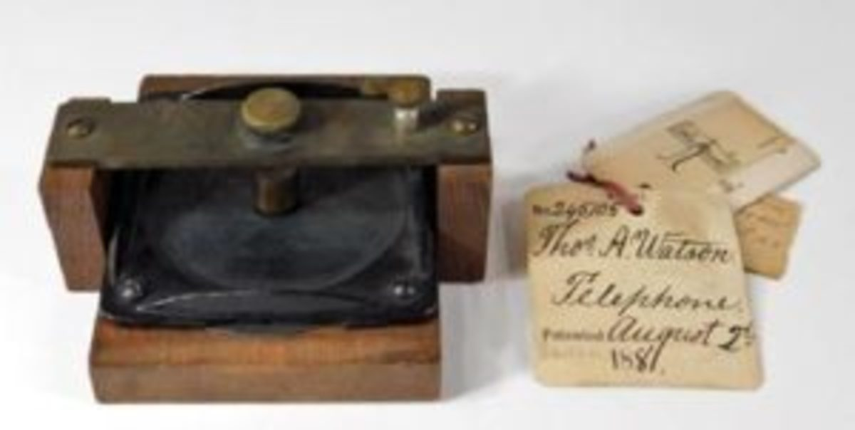 Bell and Watson prototype phone, accompanied by original 1881 patent paperwork and a tag with Watson's hand-written name and the date August 2, 1881, $40,000.