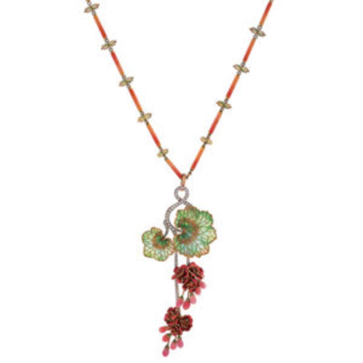 gold and plique-à-jour enamel necklace