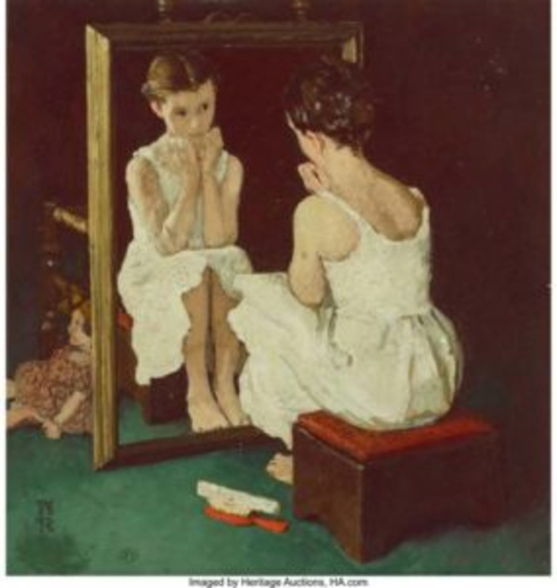 Norman Rockwell (American, 1894-1978), Girl at Mirror, The Saturday Evening Post cover study, 1954, oil on photographic paper laid on board, 10-1/8 x 10-1/2 inches, initialed lower left: N/R, $399,000.