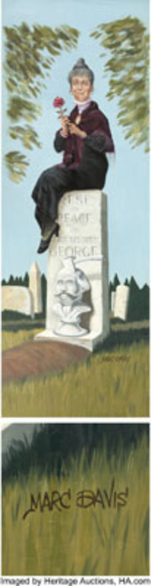 """Haunted Mansion Stretching RoomDisneyland Painting Original Art (Walt Disney, 1969). Painting on canvas, 11' 2"""" x 3' 10"""". A wooden pole at the top for mounting purposes. This is the Elderly Widow, sitting on her husband's tombstone. One of the few original paintings from the Stretching Room that we have seen, that is hand-signed by Marc Davis. $72,000"""