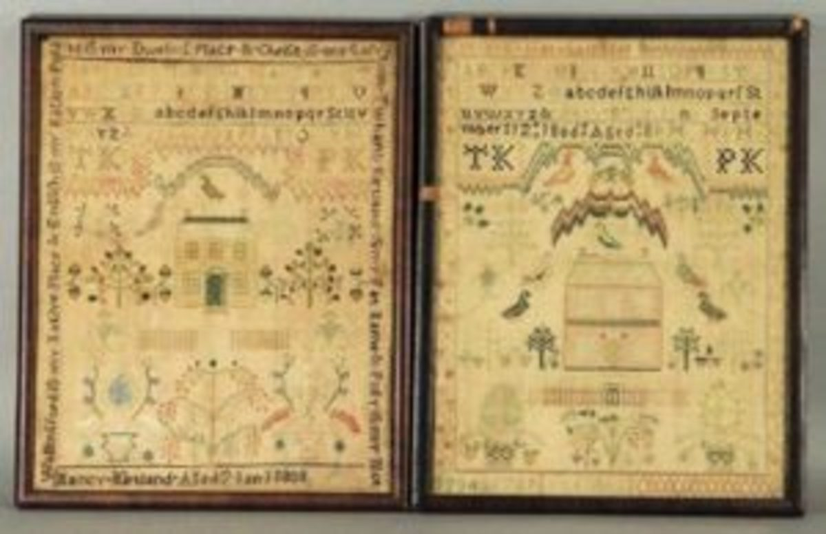 "A matching pair of samplers, done by young sisters in Ohio in 1806 and 1808, done on silk and linen, with both measuring 14"" x 11"" and both framed, sold at Bruneau & Co. for $10,000. Image courtesy of Bruneau & Co."