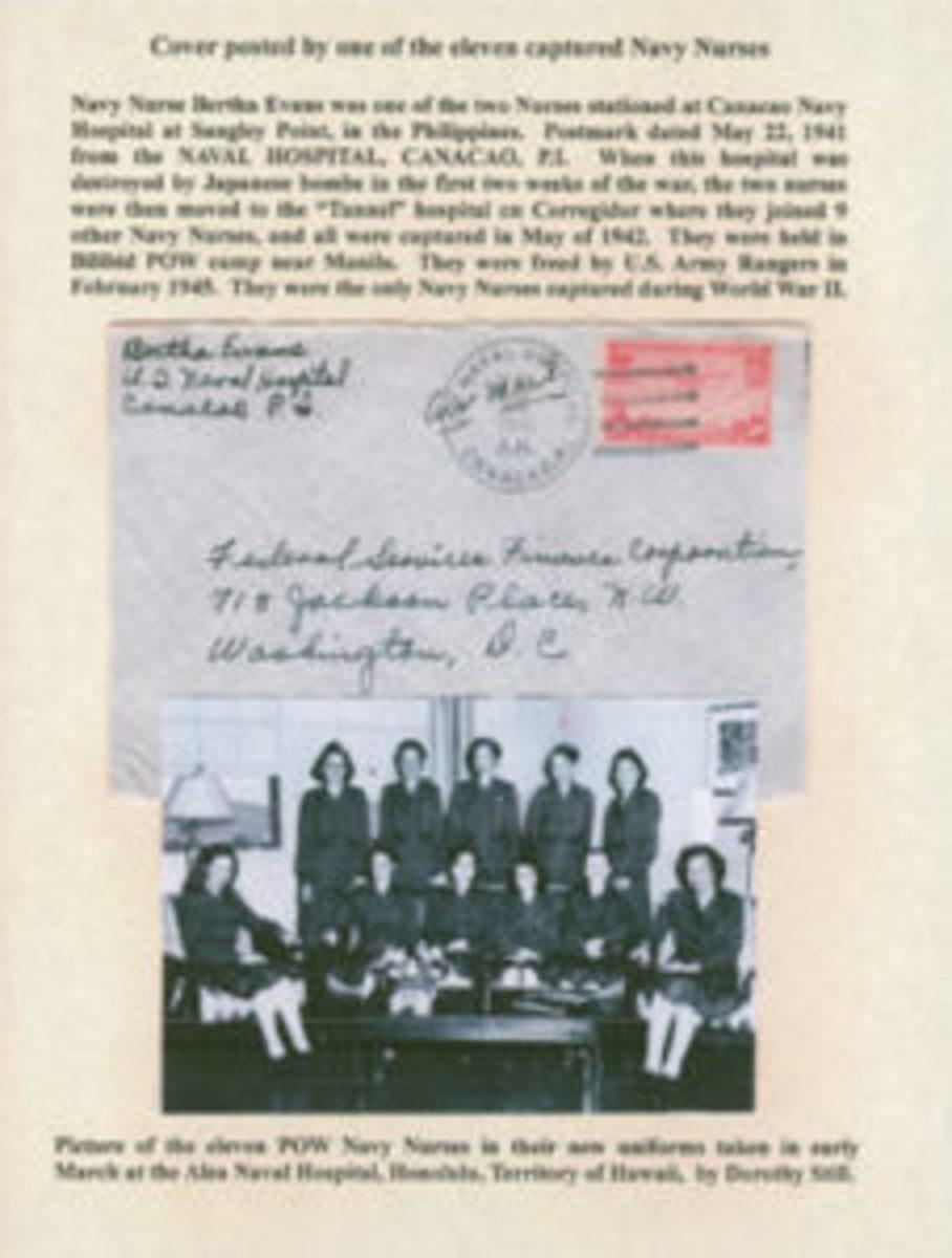 POW Navy Nurses photo and envelope