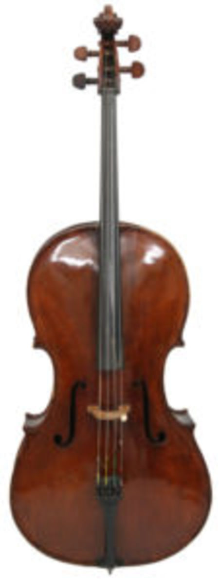 Leading a group of five fine cellos is this Carlo Tononi cello ($25/35,000).