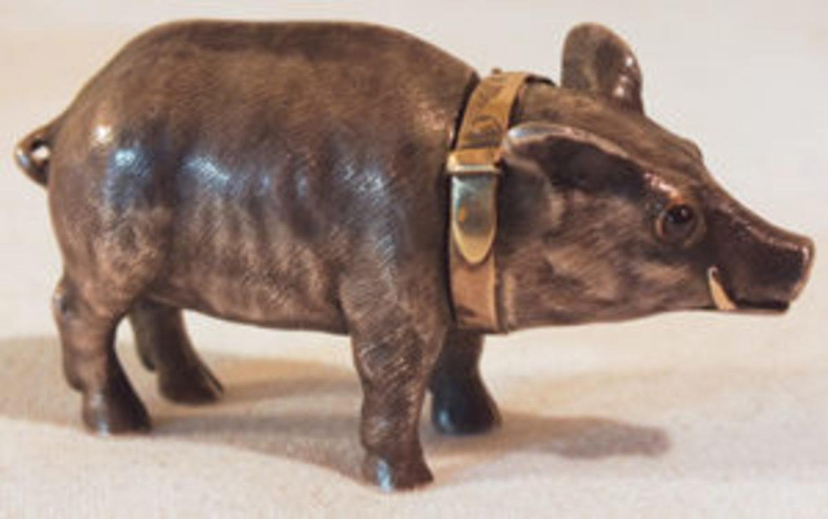 Russian silver and gold boar box