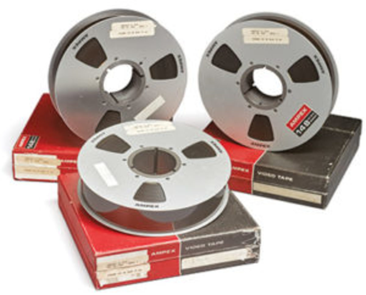 "Three metal reels (each 10-1/2"" diameter) of Ampex 148 High Band 2-inch Quadruplex videotape, the earliest, sharpest and most accurate surviving video images of man's first steps on the moon, sold at Sotheby's for $1.8 million. The three tapes have running times of 45:04, 49:00, and 50:15 minutes, respectively, covering virtually the entire period of the EVA and including about 9 minutes at the beginning of reel 1 of Mission Control waiting for the lunar-surface camera to be deployed. Courtesy of Sotheby's"