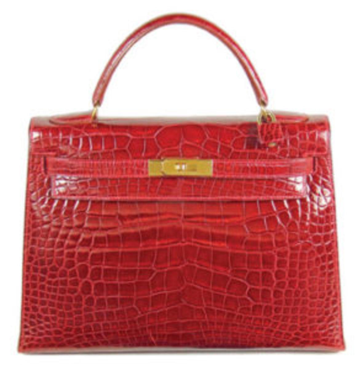 Hemes red alligator handbag