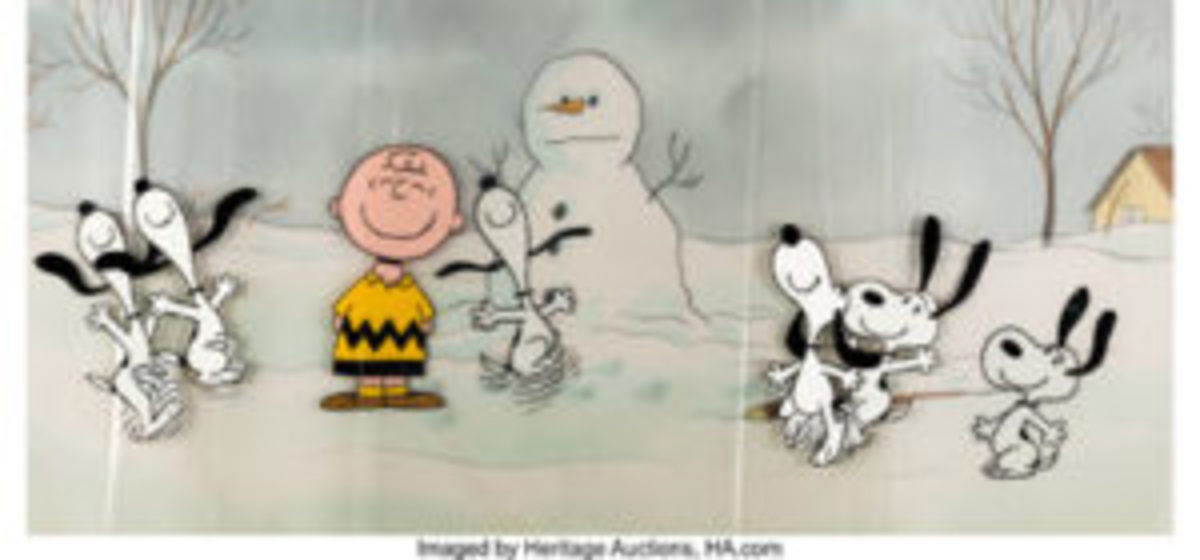"Peanuts - The Charlie Brown and Snoopy Show ""Happy Dance"" Snoopy and Charlie Brown production cel, sequence of seven with Pan Master background (Bill Melendez, 1983). $10,800"
