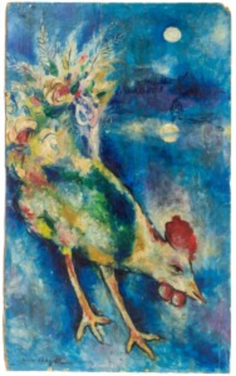 Marc Chagall Cockerel oil on board