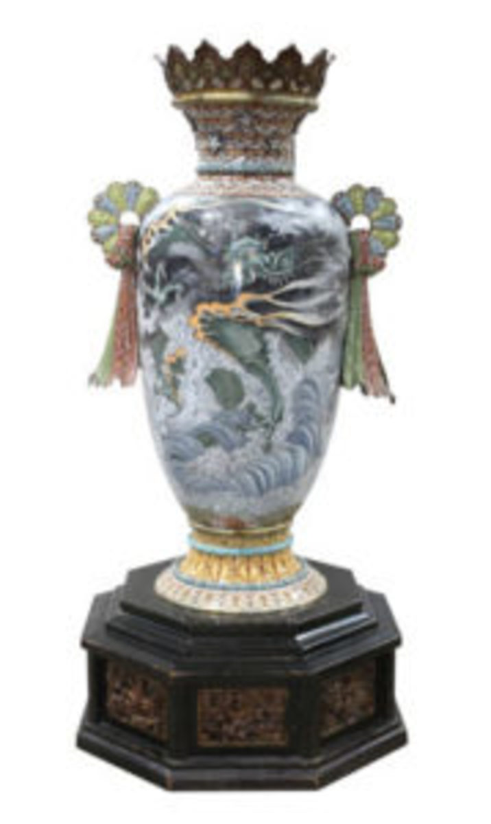 Japanese cloisonne vase, created for the Chicago World's Fair, $30,000-$50,000.