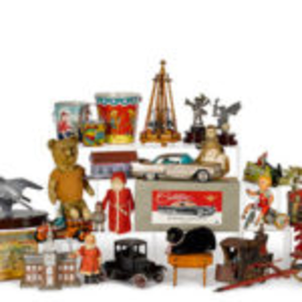 Holiday toys, lithographed tin