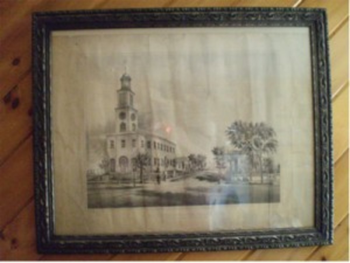 1st Congregational Church of Saco Maine lithograph