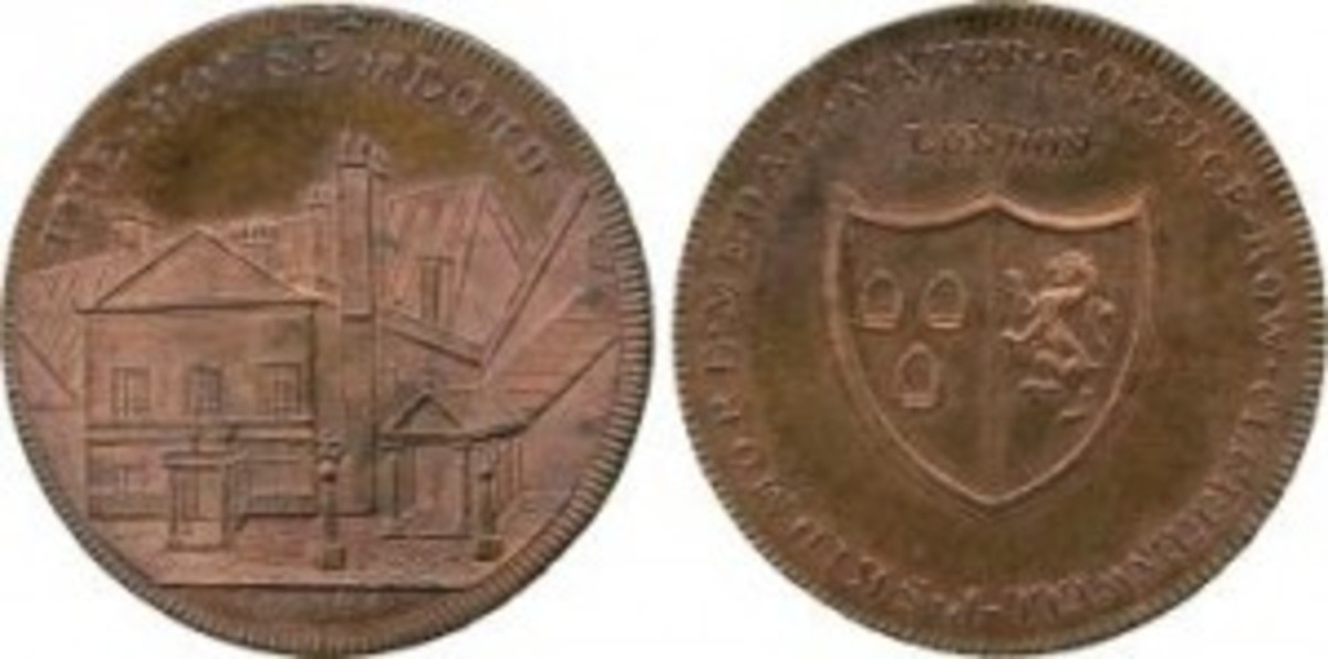 Skidmore, Clerkenwell Series, Copper Penny, 1797, obv view of a building, THE HOUSE OF LORDS around, sold for $424. (Photo courtesy Baldwin's)