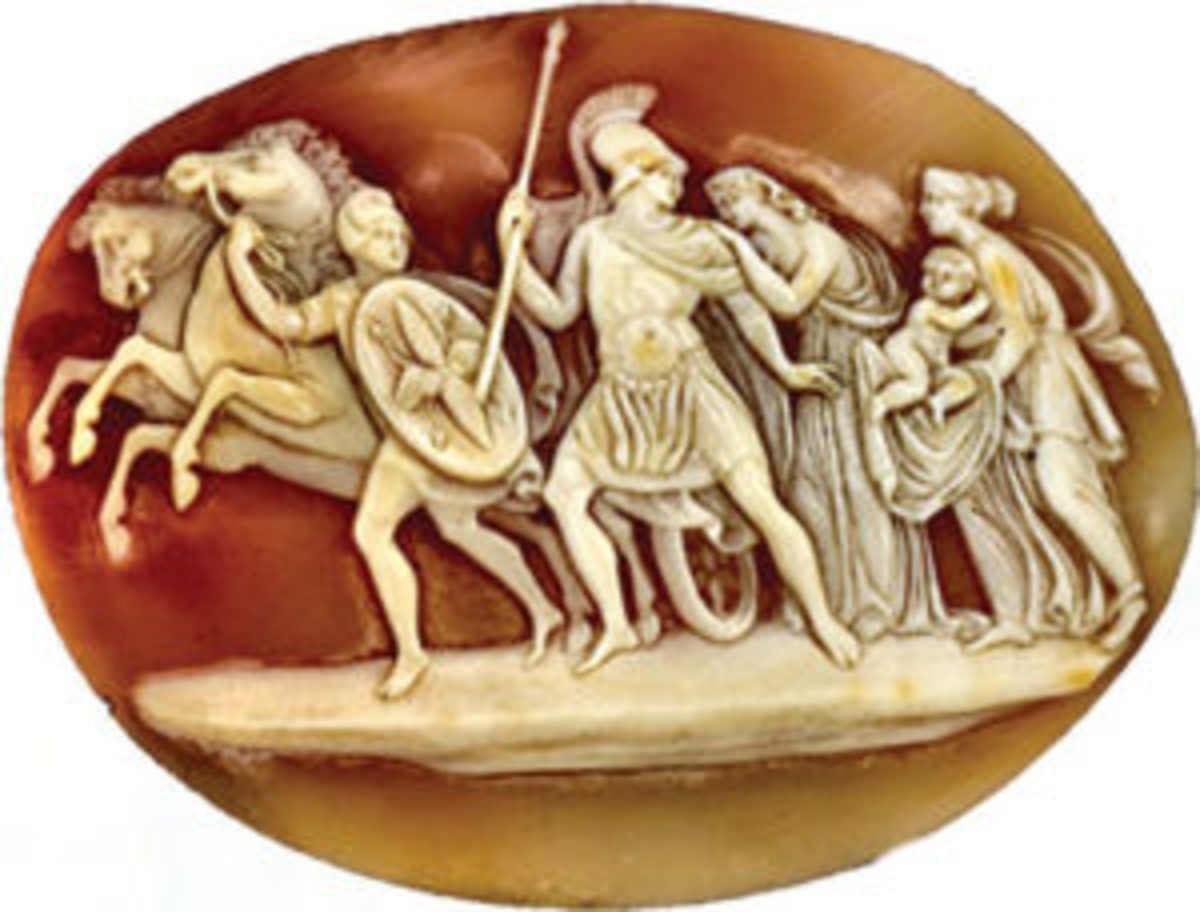 In this cameo, men are heading off to the Trojan War.