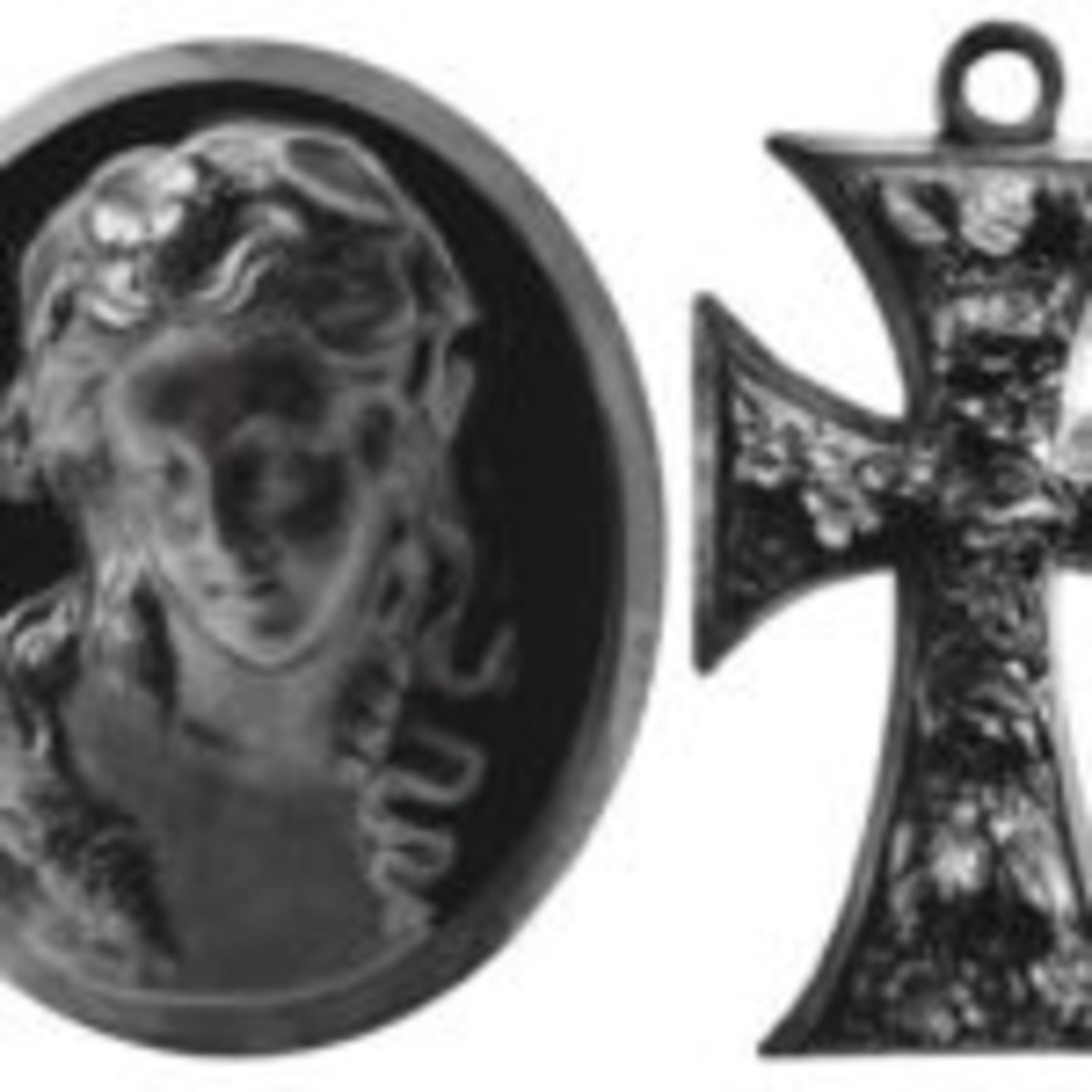 Vulcanite cross and cameo
