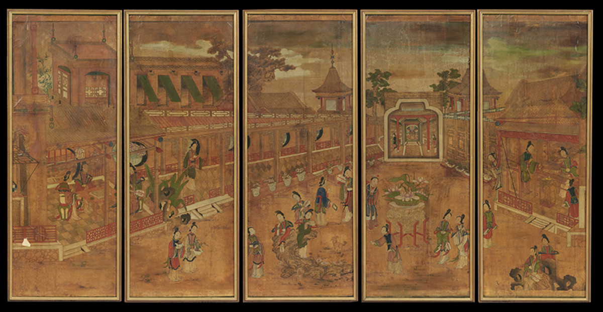 """Five Panels of Framed Chinese Hand-Painted Wallpaper, probably 19th century, decorated with Mandarin figures in gardens at plazas and a series of pagodas, in contemporary frames, each panel, h. 59"""", w. 23"""". ($800 - $1,200)"""