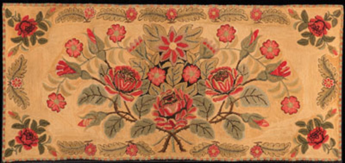 Bias-Shirred Hearth Rug, New England, probably Maine, ca. 1830, wool on cotton, Joseph and Linda Caputo Collection, T089-2017