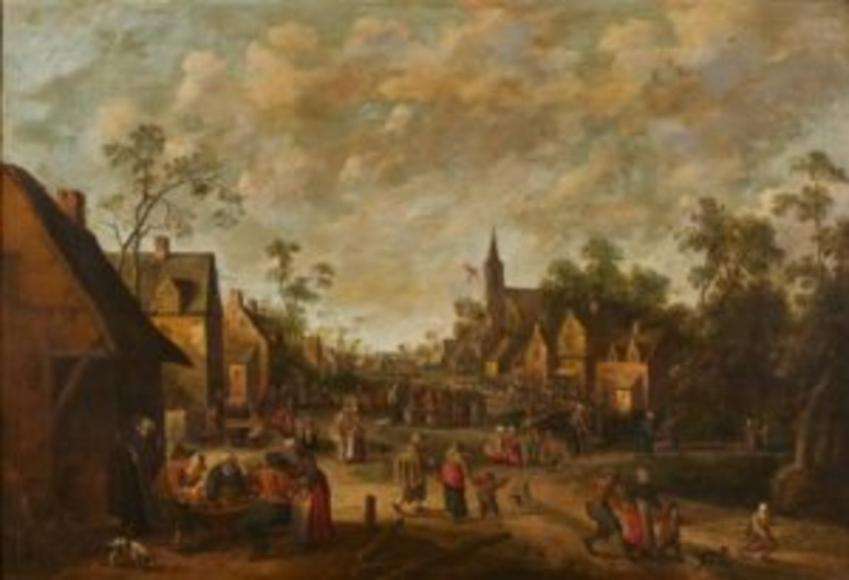 17th century Dutch townscape oil painting