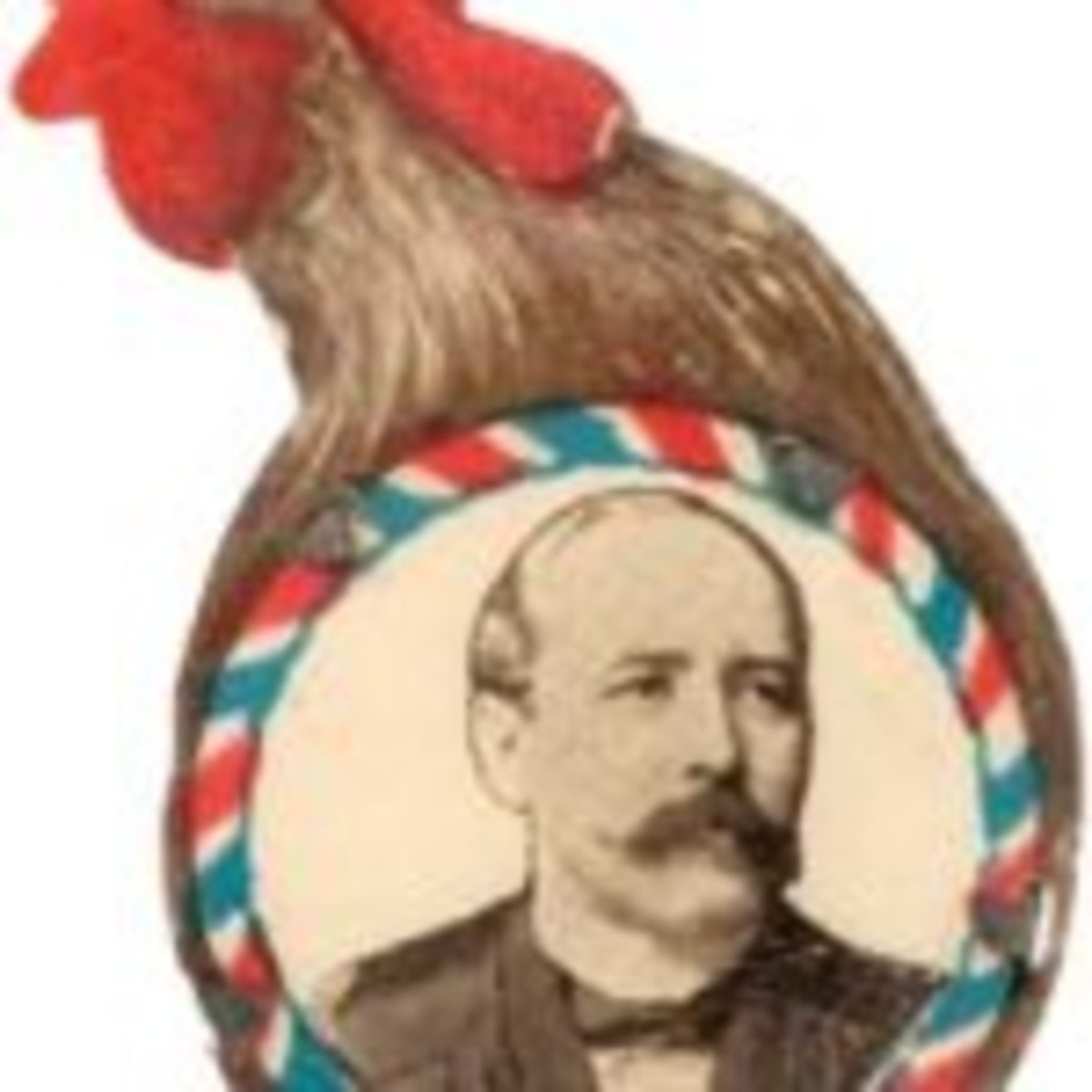 """Pinback, 1904, Alton B. Parker, diecut celluloid, crowing rooster with portrait of candidate at bottom, rooster and portrait are one piece of cello, and are affixed to thin metal back w/five tabs, 1-1/8"""" w. x 1-7/8"""" t., $1,740 Hake's Auctions, www.hakes.com"""