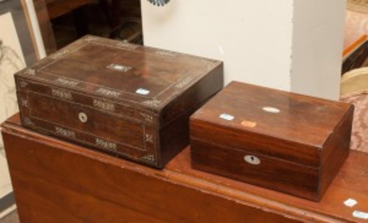Portable desk and dressing box, one of the many lots in the Discovery Auction underway through Dec. 15 at Alex Cooper Auctioneers.