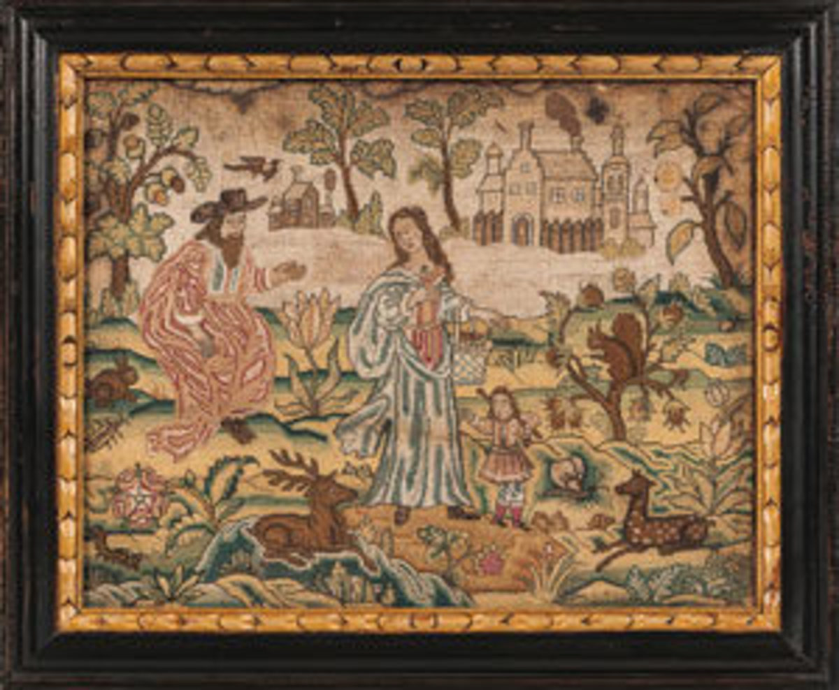 "Needlework allegorical picture, England, 17th century, depicting three figures with deer, squirrels, flowers, and fruit trees, buildings in the background, in a molded and black-painted frame with a gilt liner, 14-5/8"" h, 17-3/4"" w. This sold for $4,305 against an estimate of $1,500-$2,500. Image courtesy of Skinner Auctioneers and Appraisers"